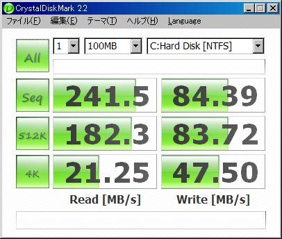 ベンチ結果(SSDSA2MH080G2C1)