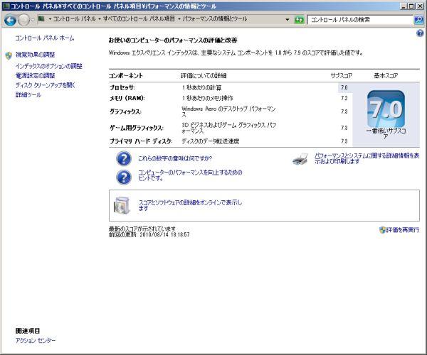 Windows7PRO 64bit(パフォーマンスの評価と改善内訳)